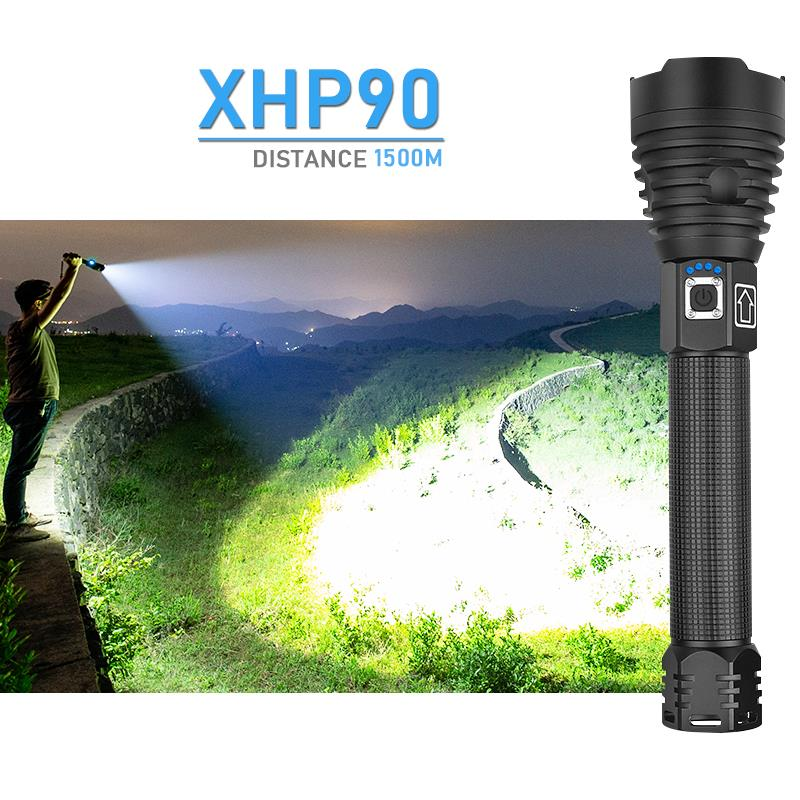 XLamp Xhp90 Most Powerful Led Flashlight Xhp70.2 Usb Rechargeable Torch Xhp50 Hand Lamp 26650 18650 Flash Light Zaklamp