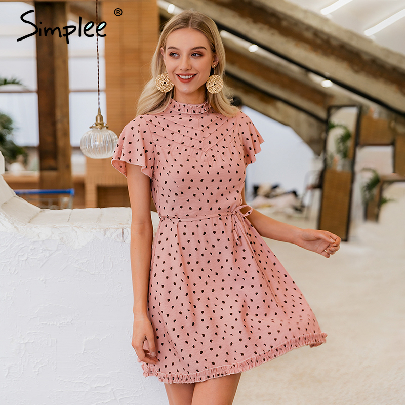 Simplee Elegant Leopard Print Women Linen Dress Short Sleeve Lace Up Female A-line Dress Spring Summer Ruffle Ladies Mini Dress