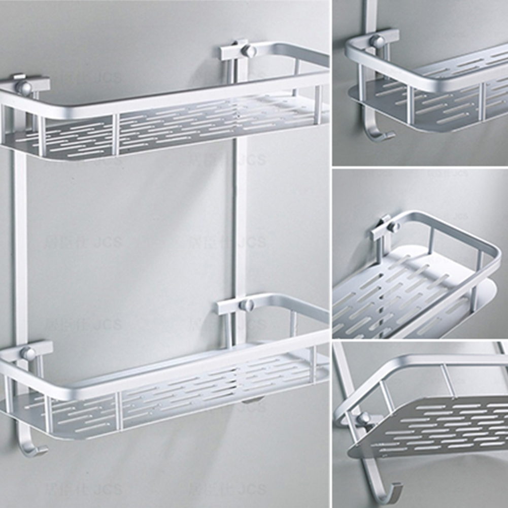 Hanging Hook Storage Rack Bathroom Shower Bath Shampoos Shower Gel Holder Aluminium Shelf Silver Toilet Rack Bathroom Accessory