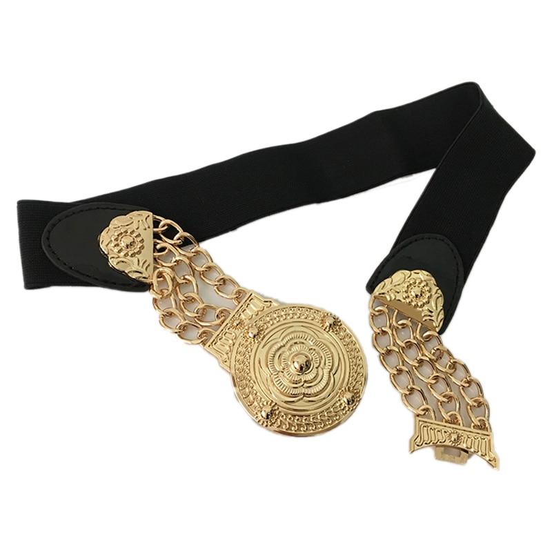Flower Waist Belts Fashion Ladies Floral Elastic Wide Gold Metal Belt For Dress Female Golden Chain Belt