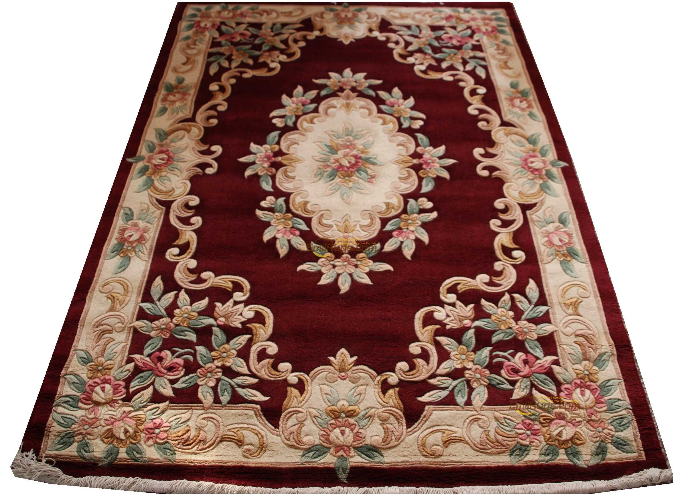 Rose Carpet French Savonnerie Hand Knotted Wool Rug Carpet Needlepoint Circular Fashion Carpet Living Room Indoor Carpet