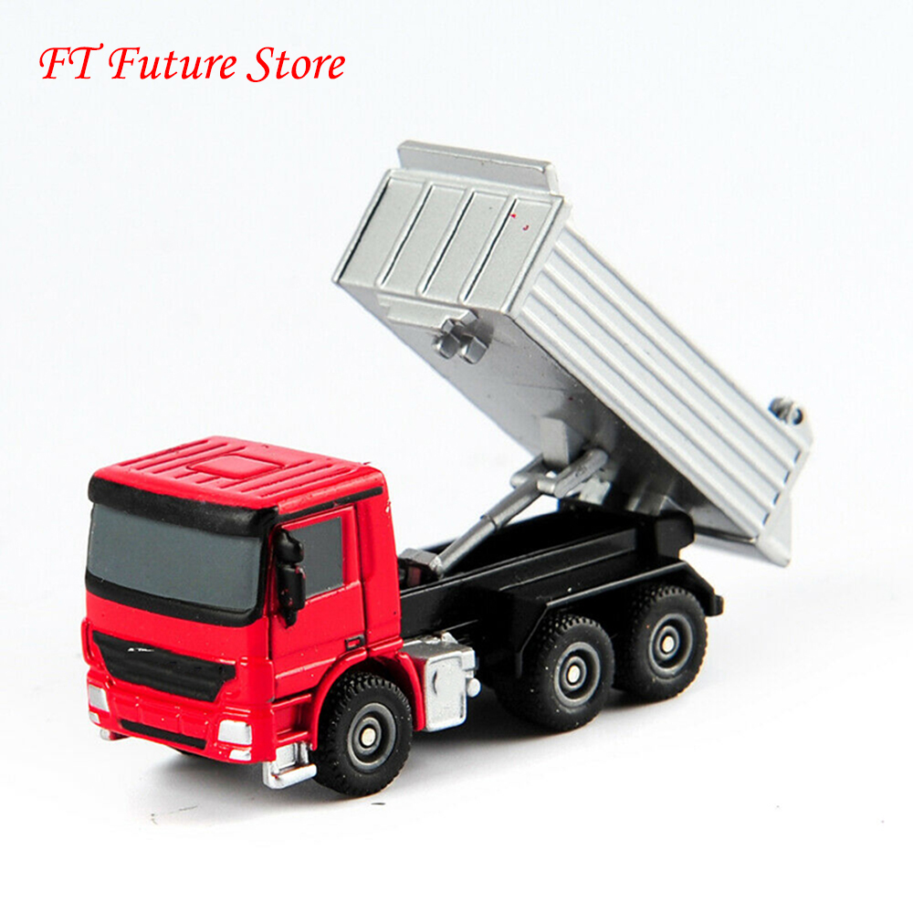 Kid Boys Gifts In Stock 1/87 Scale Red Alloy Diecast Truck Sliver Container Model Vehicle Car Toys For Fans Collection Gifts