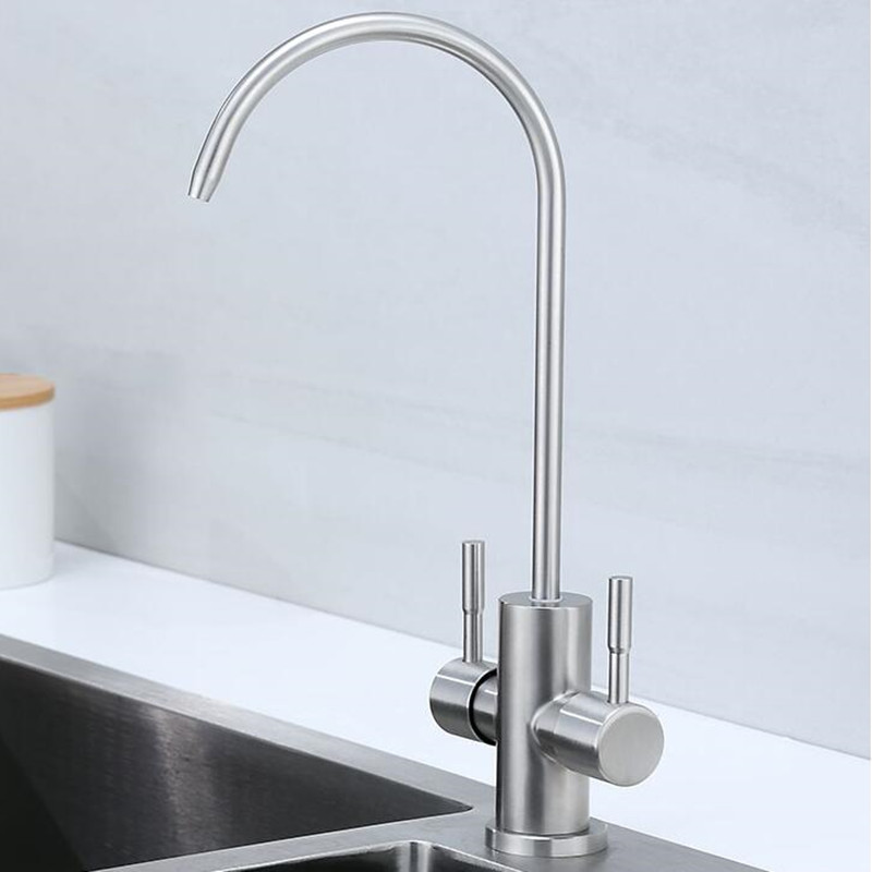 Kitchen Faucets Double Direct Dring Water Sink Mixer Purify Water Swivel Kitchen Tap  Crane 304 Stainless Steel