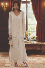 Elegant Ankle Length Mother Of The Bride Dresses With Jacket Sequins Beaded Long Plus Size Mothers Wedding Guest Dress