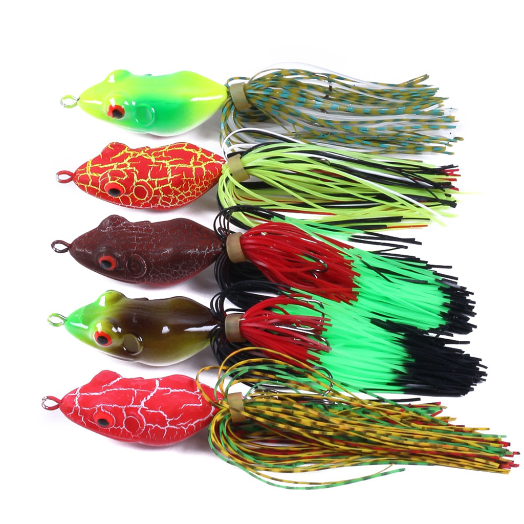 11g Multicolored Frog Topwater Fishing Lure Crankbait Hooks Bass Bait Tackle