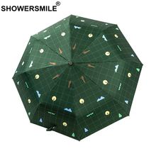 SHOWERSMILE Green Umbrella Rain Women Tree Print Three Folding Waterproof Automatic UV Protection Parasol