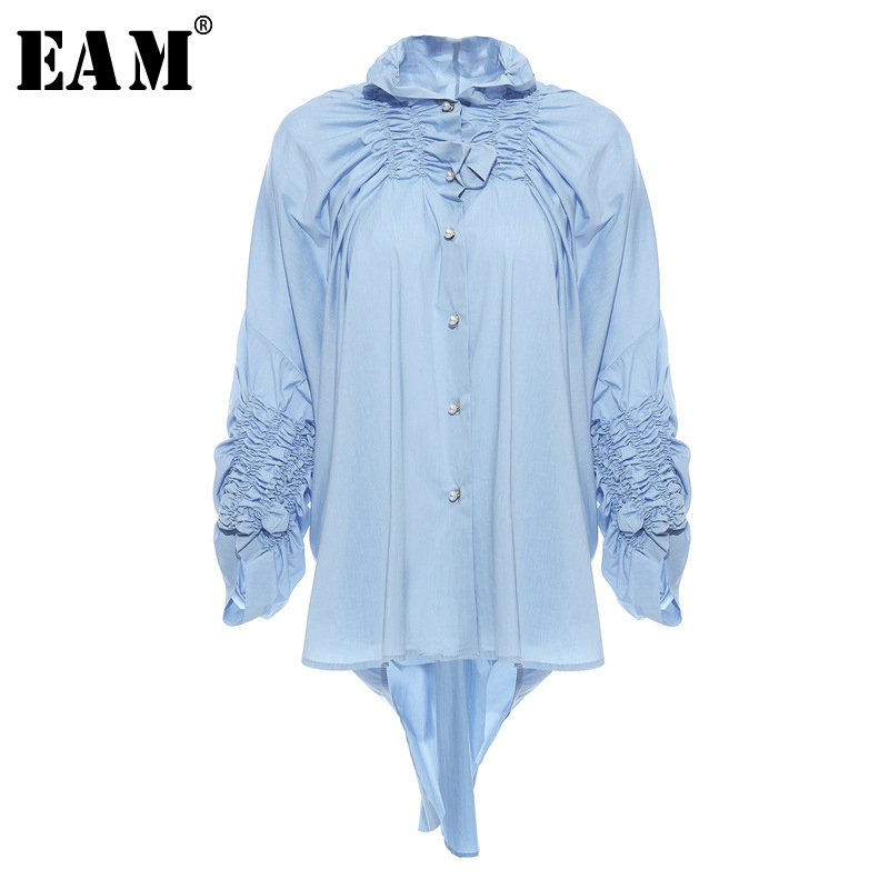 [EAM] Women Blue Back Long Pleated Big Size Blouse New Stand Collar Long Sleeve Loose Fit Shirt Fashion Spring Autumn 2020 1N909