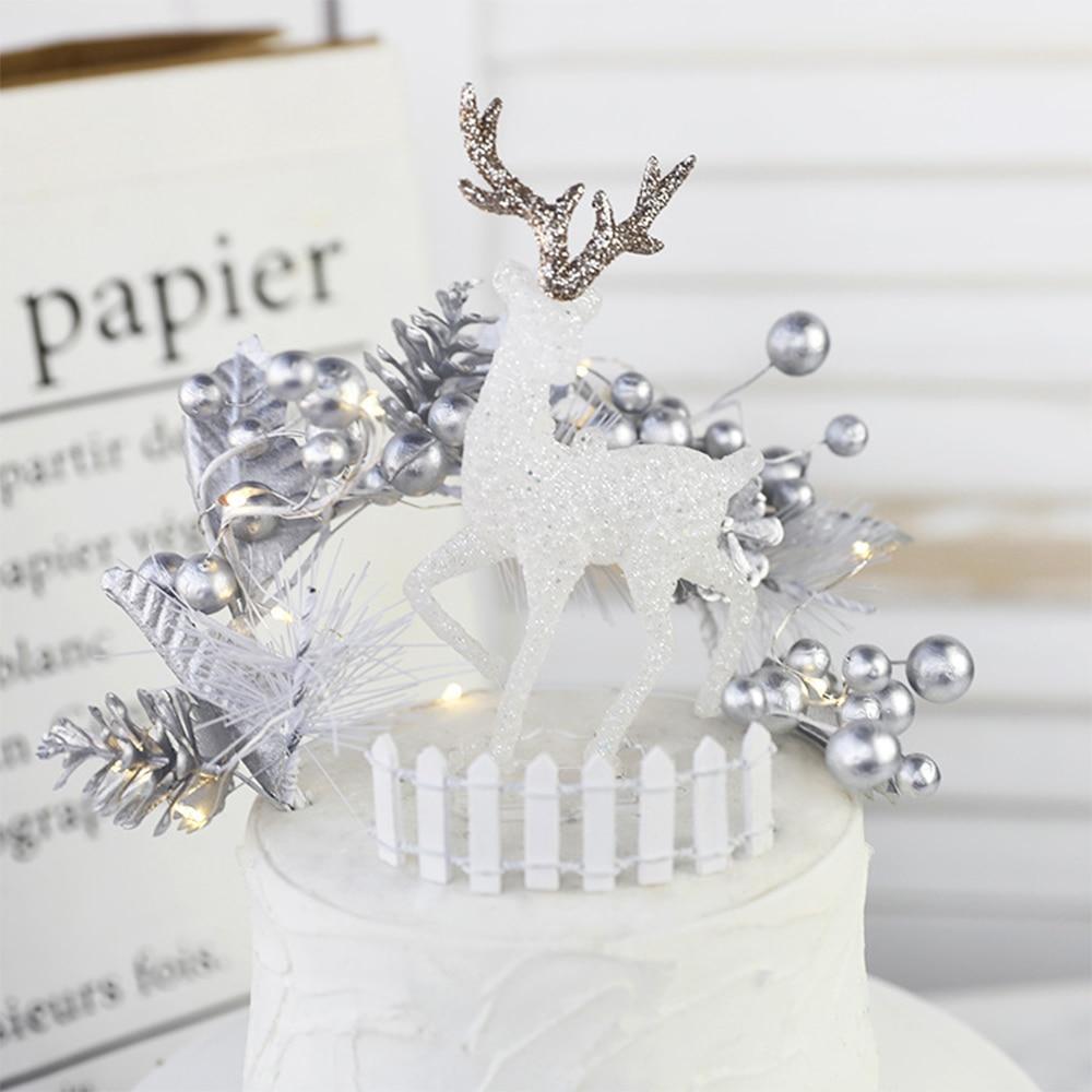 Amwill alce de cristal bolo topper natal rena branca veados bonecas natal ano novo decoração do bolo ferramentas de cozimento ornamento