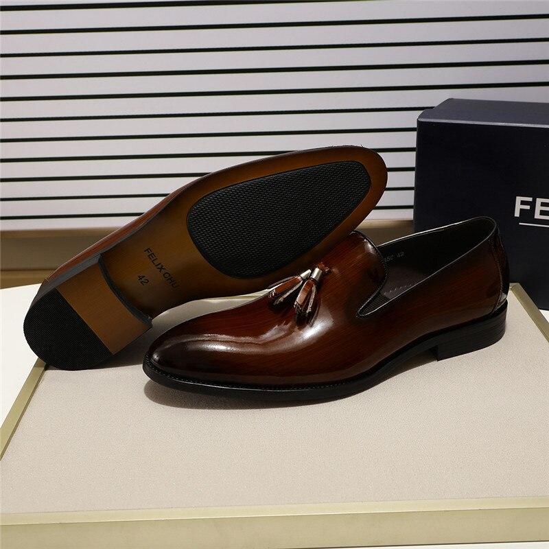 FELIX CHU Patent Leder Männer Quaste Loafer Schuhe Schwarz Braun Slip auf Herren Kleid Schuhe Hochzeit Partei Formale Schuhe Größe 39 46-in Freizeitschuhe für Herren aus Schuhe bei  Gruppe 2