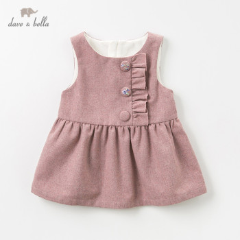 DBZ11938 dave bella winter baby girl's princess ruched button vest dress children fashion party dress kids infant lolita clothes image