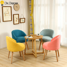 Nordic Colorful Fabric Sofa Casual Chair Solid Wood Living Room Home Furniture Dining Room Chairs Creative Personality Chair giantex living room accent leisure chair modern fabric upholstered arm chair single sofa chairs home furniture hw54386