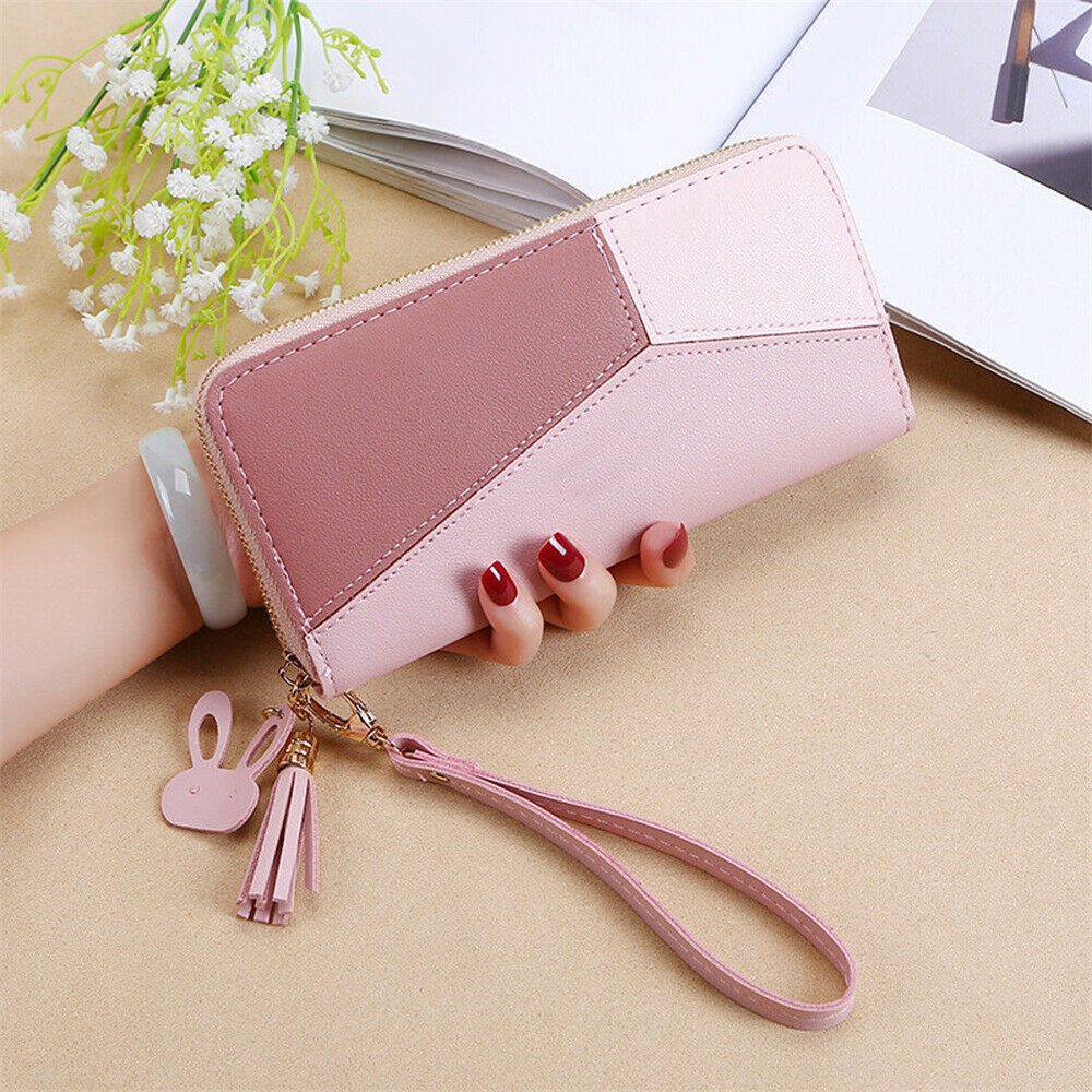 Fashion Women Zipper PU Leather Wallet Large Patchwork Wrist Band Handbag Card Phone Holder Case Clutch Handbag