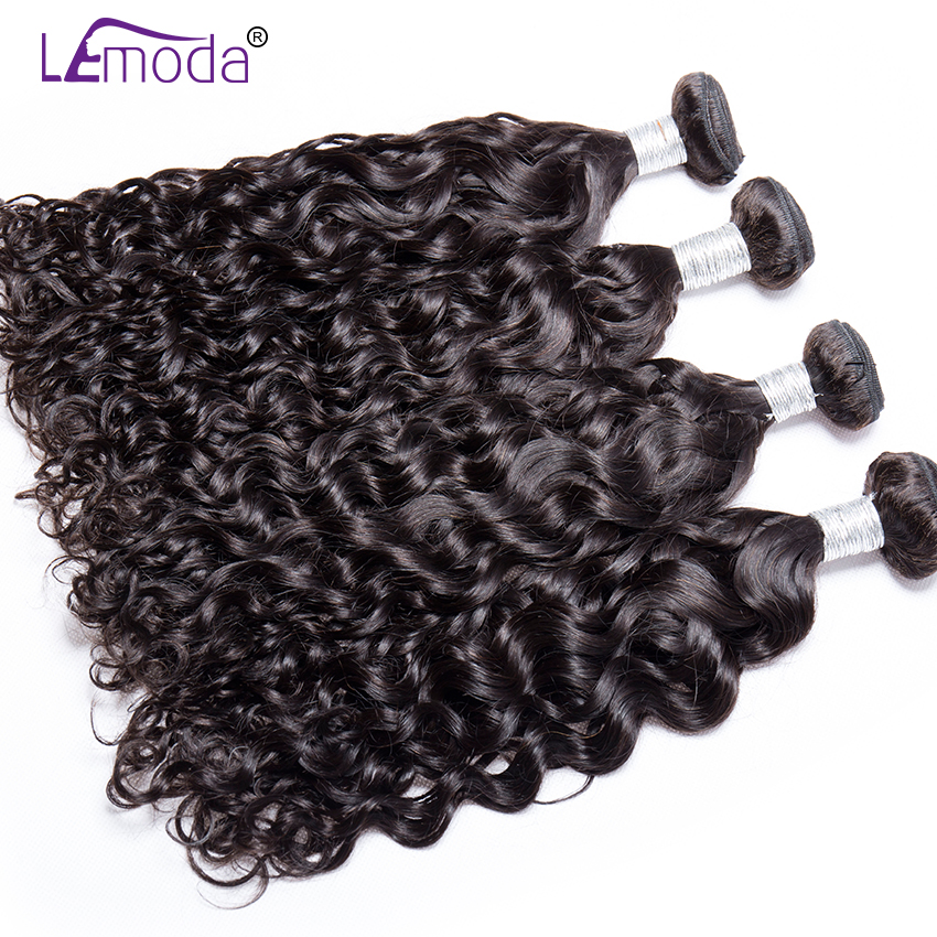 H0333c57976b74434977a1b39122cfe19w Malaysian Water Wave Human Hair Bundles With Closure 3 or 4 Bundles With Closure LeModa Remy Hair Extensions Middle Free Closure