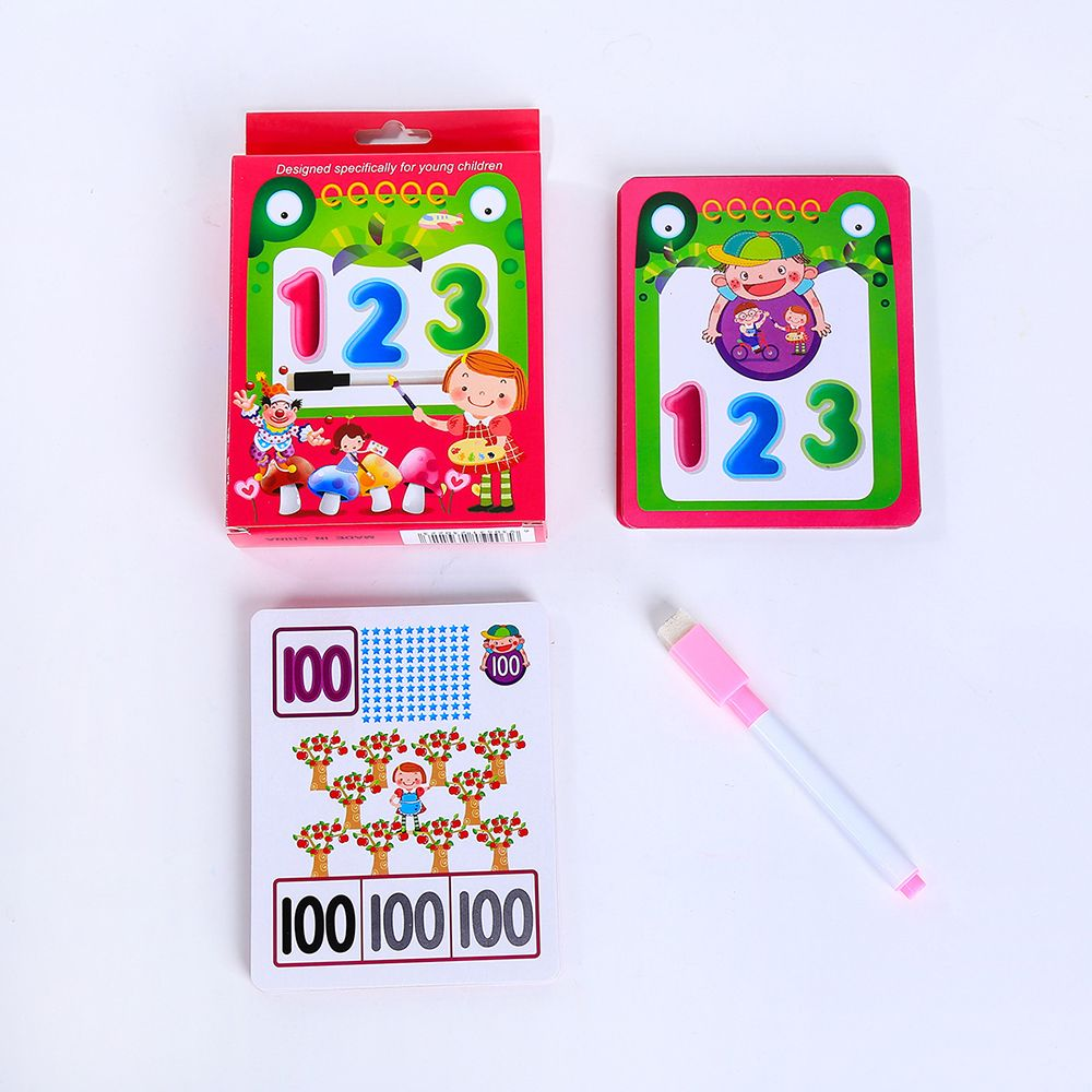 Kids Early Educational Toys Learning Flash Cards with Erasable Pen Alphabet Number Teaching Card Reusable English Book Kids Gift