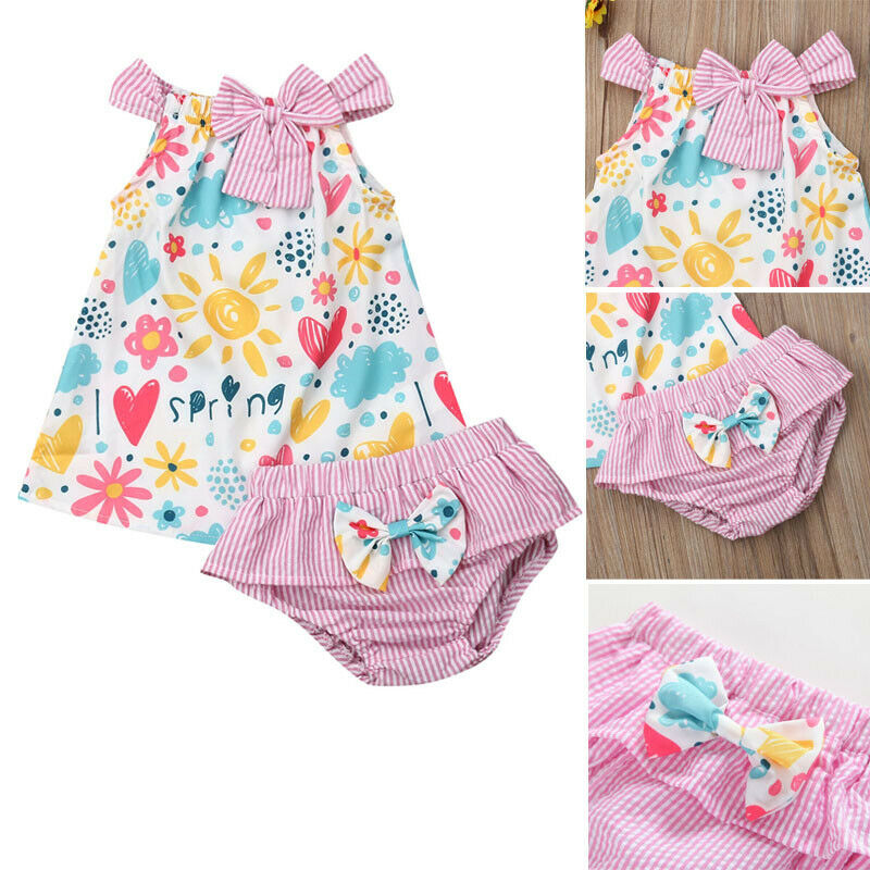 Summer Toddler Baby Kids Girls Sleeveless Flower Tops Dress Shorts Outfits