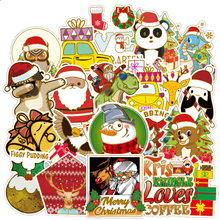 52 Pcs Gold Hot Large Christmas Graffiti Stickers Computer Notebook Suitcase Stickers Trunk Stickers