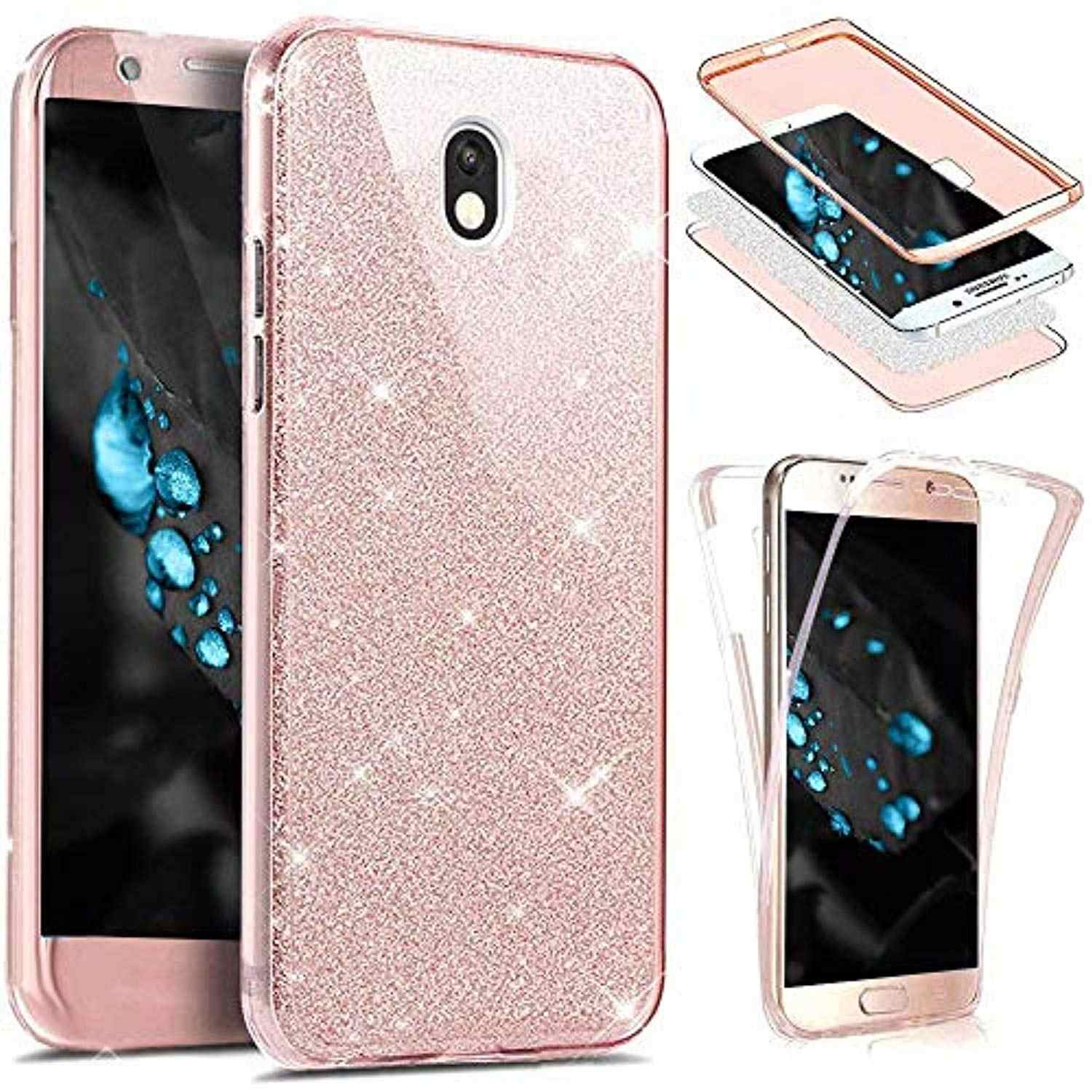 360 3 in 1 Front + Back Glitter Bling TPU Case for Samsung Galaxy J3 J5 J7 2017 A3 A5 A7 2016 Cover Transparent Phone Cases