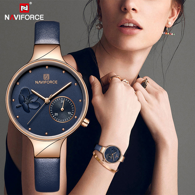 NAVIFORCE Womens Fashion Blue Quartz Watches Ladies Leather Strap High Quality Casual Waterproof Wristwatch Gifts For Wife 2019