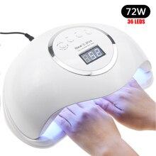 Профессиональный 72 Вт УФ-лампа светодиодный светильник для ногтей высокой мощности для ногтей Все гель-лаки Сушилка для ногтей автоматический датчик солнце светодиодный светильник маникюрные инструменты для ногтей