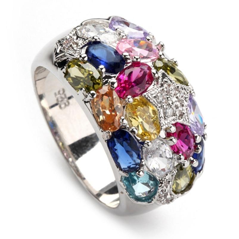 SHUNXUNZE duże obrączki biżuteria dla kobiet Różowy czerwony Peridot Morganite Niebieski żółty Fioletowy Cyrkonia Rodowany R373