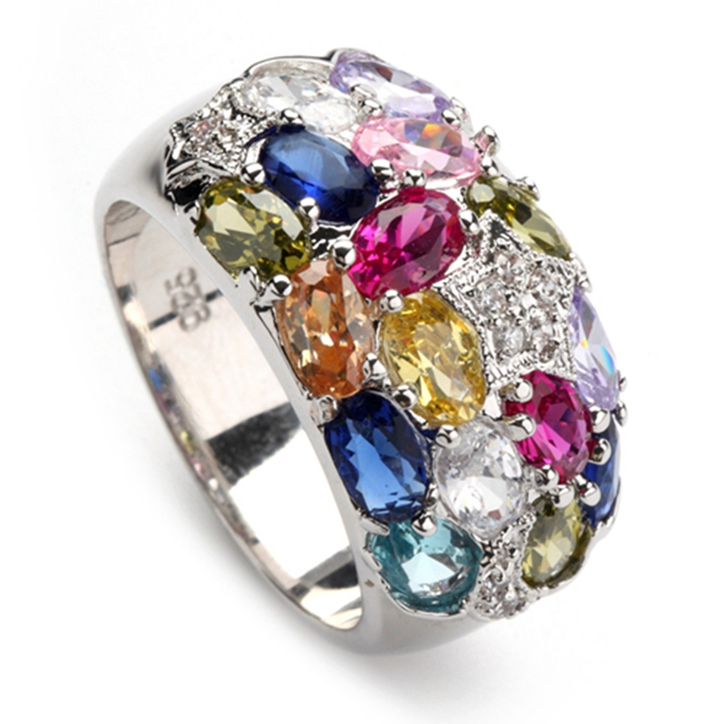 SHUNXUNZE grandes anéis de casamento jóias para mulheres Rosa vermelha Peridoto Morganita Azul amarelo Roxo Cubic Zirconia Ródio Banhado R373