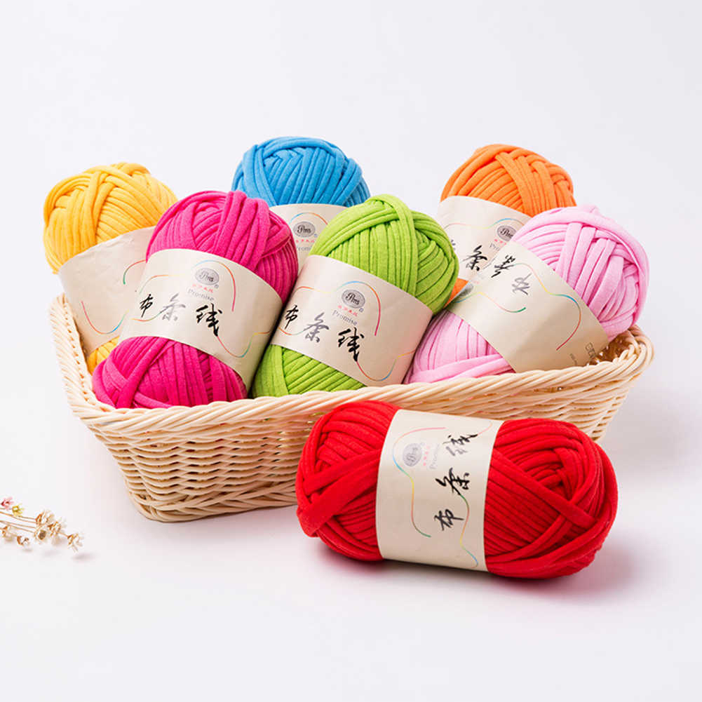 1 個ニット織糸太糸バスケット毛布カーペット糸コージー綿ウールニット編組 Diy かぎ針ファンシー布ヤール