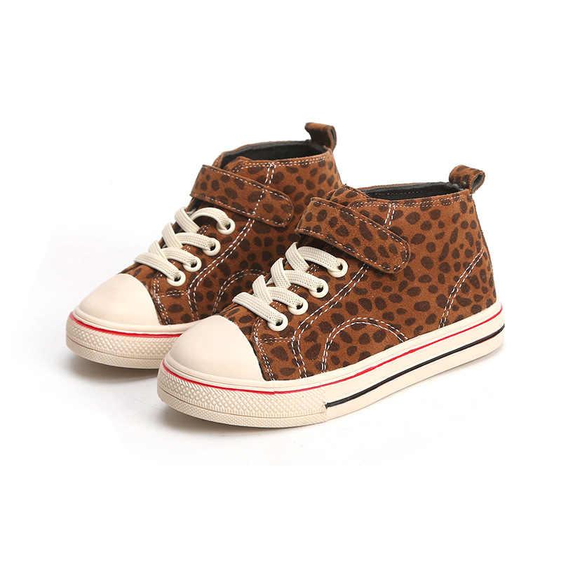 Lente Herfst Kids Schoenen Jongens Meisjes Casual Schoenen Mode Luipaard Print Hoge Top Canvas Schoenen Kinderen Sneakers Slip on Loafers