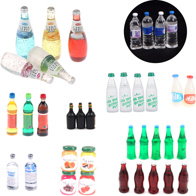 1/2/3/4/5/6/10PCS Mini Water Bottles Dollhouse Miniature Doll Food Kitchen Living Room Accessories Kids Gift Pretend Play Toys