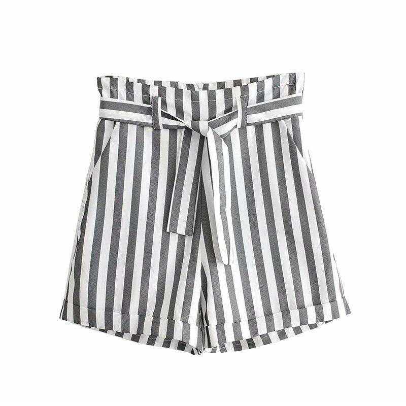 Women Chic Striped Shorts Bow Tie Sashes Pockets Back Zipper Female Casual Vintage Shorts Basic Pantalones Cortos