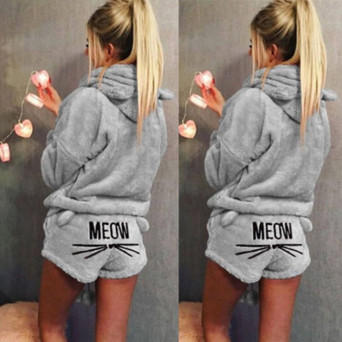 Fashion Women Cute Cat Long Sleeve Warm Hoodie Top Shorts Sleepwear Pajamas Set Coral Fleece Warm Clothing Sets