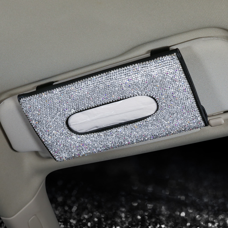 Bling-Bling-Diamond-Car-Visor-Tissue-Holder-Hanging-Leather-Crystals-Rhinestone-Paper-Towel-Cover-Case-for-Women-4