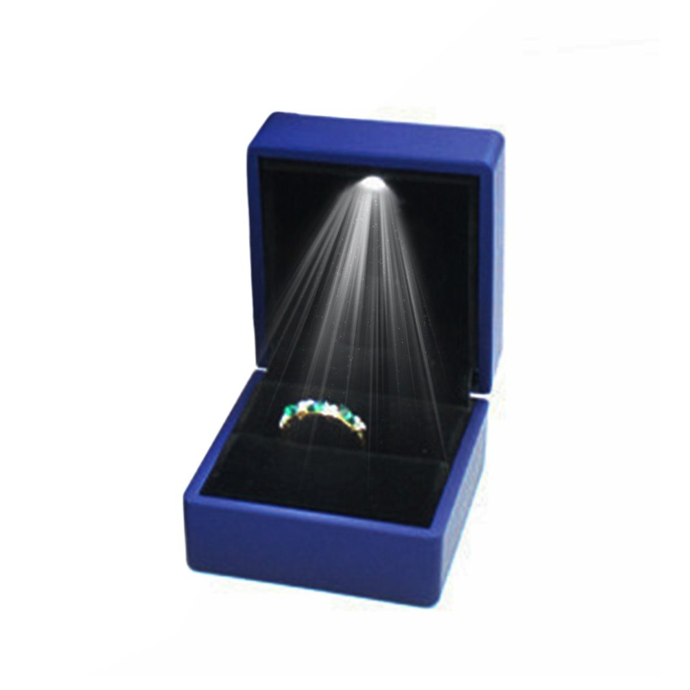 Fashion LED Lighted Earring Ring Gift Box Wedding Ring Jewelry Display Packaging Organizer Storage For Engagement Black/Blue