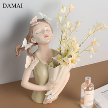 Butterfly Bouquet Girl Vase Nordic Modern Resin Flowers Vases Cartoon Character Decorative Plant Pots Living Room Decoration