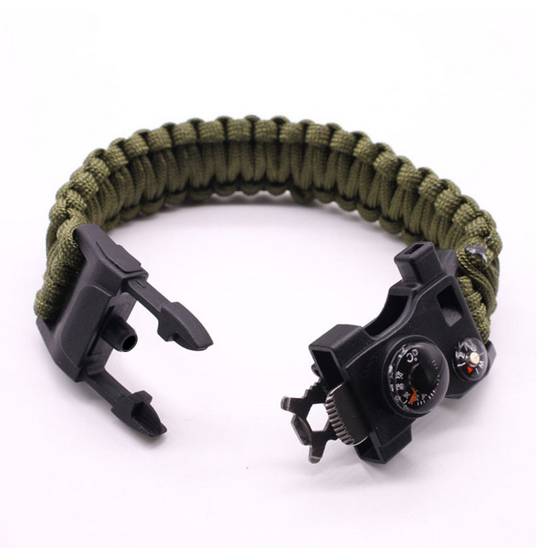 Survival Bracelet Multifunctional Military Emergency Camp Life Saving Bracelet Escape Tactical Bracelet 15 In 1