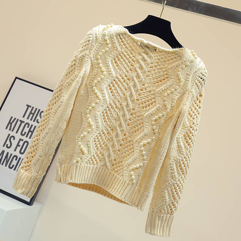Perle perle creux pull pull pour femmes printemps chandails filles dames tempérament mince tricot manteau hauts tricots automne - 3