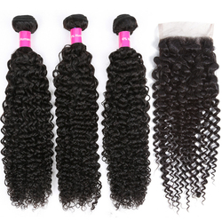 Kinky Curly Bundles With Closure Peruvian Human Hair Weave 3 Bundles With Closure Tuneful 100% Remy Hair Weft No Tangle
