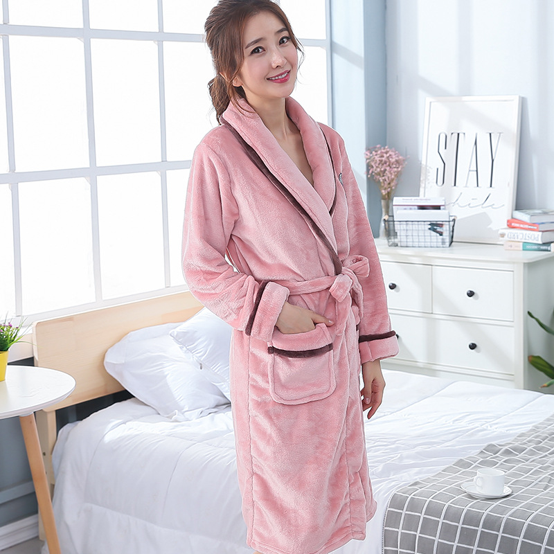 New Pink Women Winter Coral Fleece Kimono Gown Home Robe Thick Warm Lounge Nightwear Cute Couple Lovers Sleepwear Men Nightgown