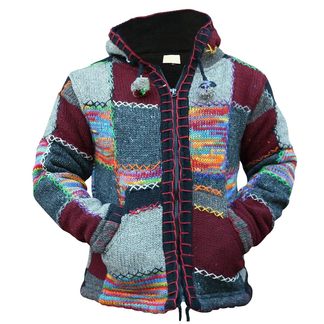 Осенне-весенний мужской вязаный свитер на молнии с капюшоном в стиле пэчворк, Осенний модный вязаный свитер, повседневное пальто Casaco Masculina