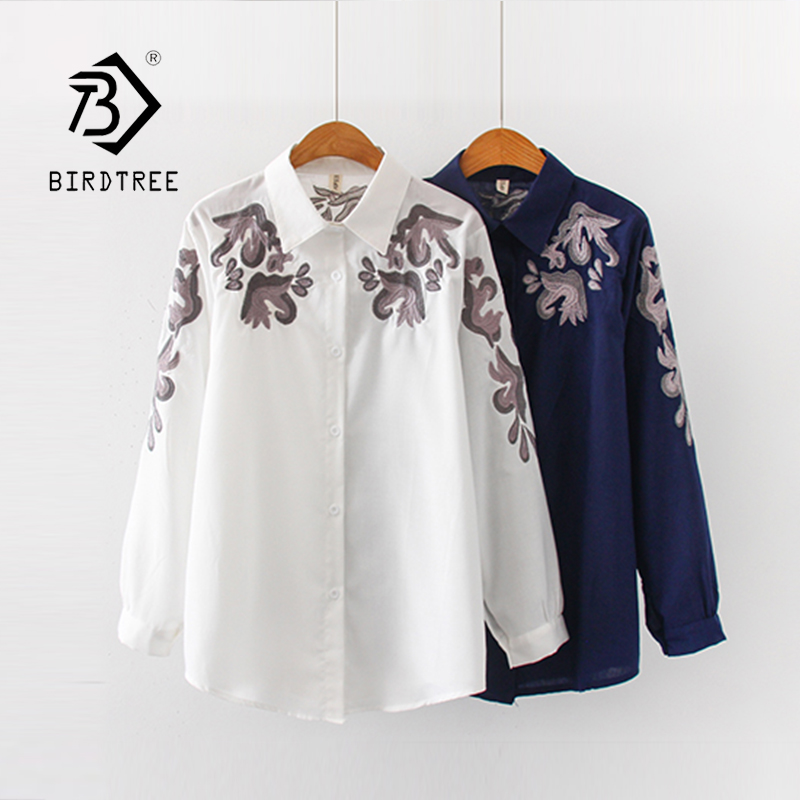 New Arrival Women Button Up Turn Down Collar Long Sleeve Embroidery White Shirt Cotton Casual Blouse Oversize Top T98401F