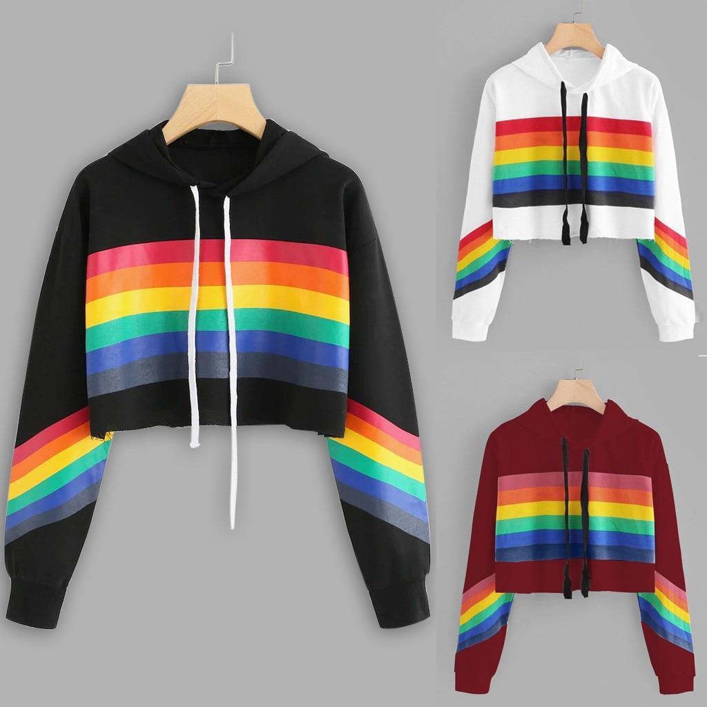 Women Hoodies Sweatshirt  Long Sleeve Winter Ladies Rainbow Print Pullover Tops Coat Sweatshirt Clothing Moletom Feminino@50