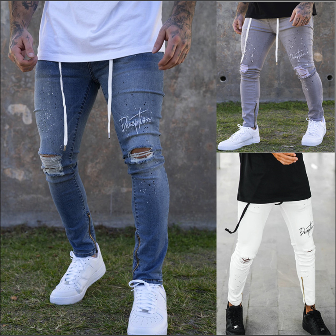 LASPERAL Fashion Streetwear Men's Slim Fit Denim Pants Ripped Pants Men's Painted Jeans Skinny Jeans Drawstring Jeans
