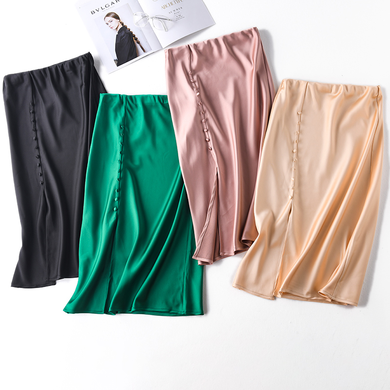 Women Casual High Waist Shiny Silk Satin Wrap Skirts Summer Chic Small Button Slit Skirt Femme Shiny Elegant Party Midi Skirts