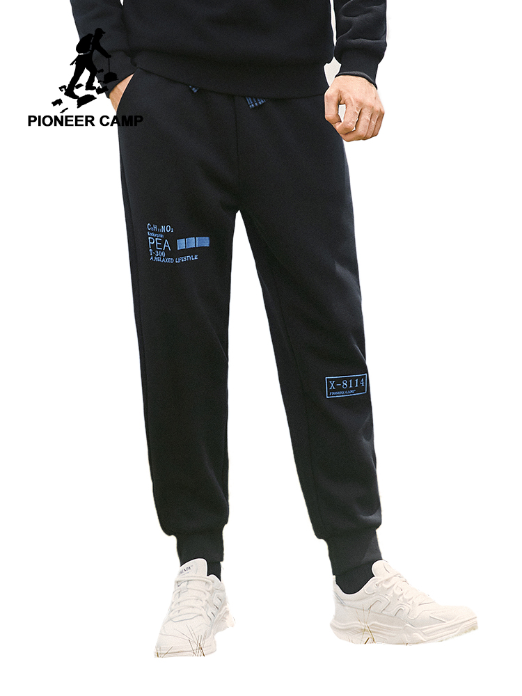 Pioneer Camp Fashion Winter Sweatpants Warm Fleece 100%cotton Black Causal Straight Long Pants For Male AZZ908176