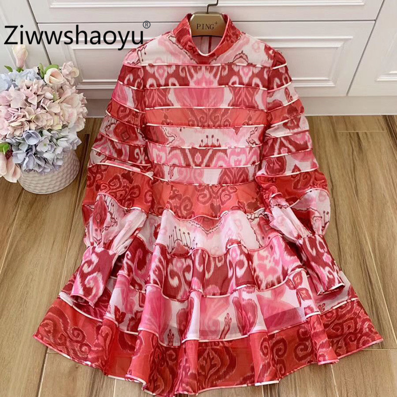 Ziwwshaoyu 2020 Spring Summer Boho Mini Cotton Dresses Women's Baroque Print Long Lantern Sleeve Charming Vacation Party Dress