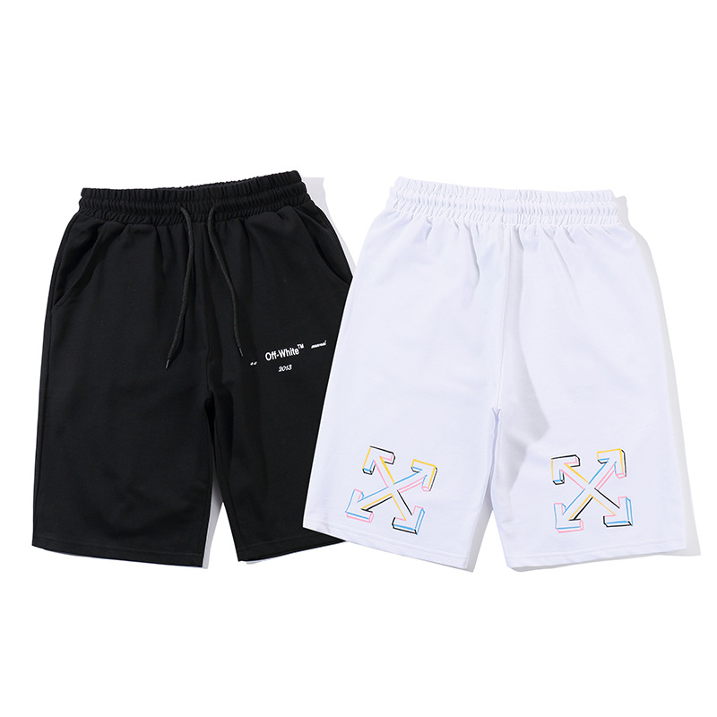 19 Europe And America Summer New Style Hip Hop Off Sports Shorts Men And Women White Ow Stripes Loose-Fit Short Beach Shorts