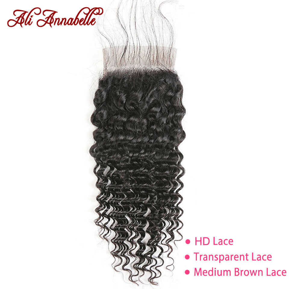 "ALI ANNABELLE Brazilian Deep Wave Lace Closure Medium Brown/Transparent/HD Lace Closure 10""-20"" Swiss Lace Human Hair Closure"