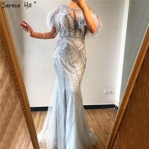 Image 3 - כסף נוצות צעיף חוט סקסי ערב שמלות 2020 דובאי בת ים V צוואר ואגלי יהלומי Serene היל LA70355