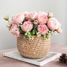 Fleurs Artificielles En Soie Haute Qualite 5 Rose Artificielle Avec Tige salle de Restaurant décoration de mariage Simulation Bouquet