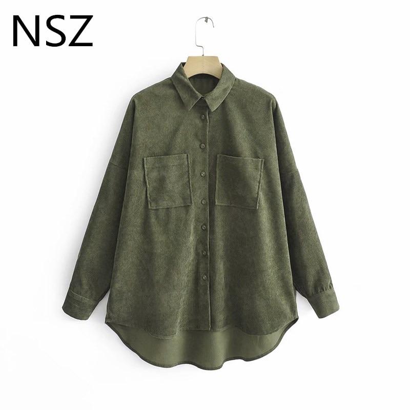 NSZ women corduroy jacket blouse oversized shirt long sleeve casual ladies fashion buttoned tops spring autumn camisa blusa(China)