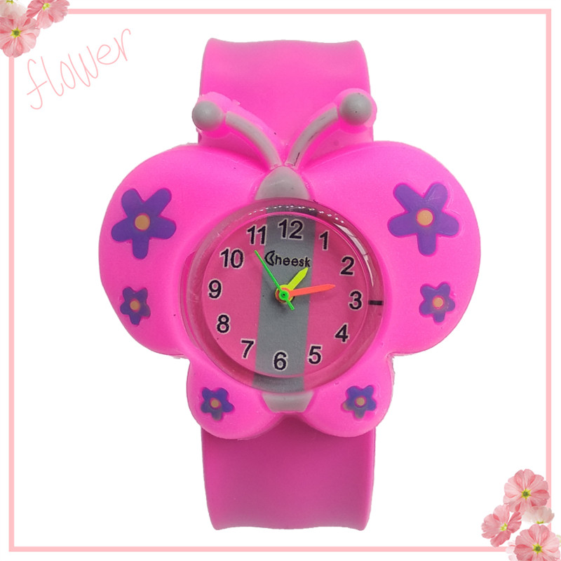 2019 New Dropshiping Girl Butterfly Watch Children Students Clock Silicone Tape Patted Child Watches Kids Baby Christmas Gift